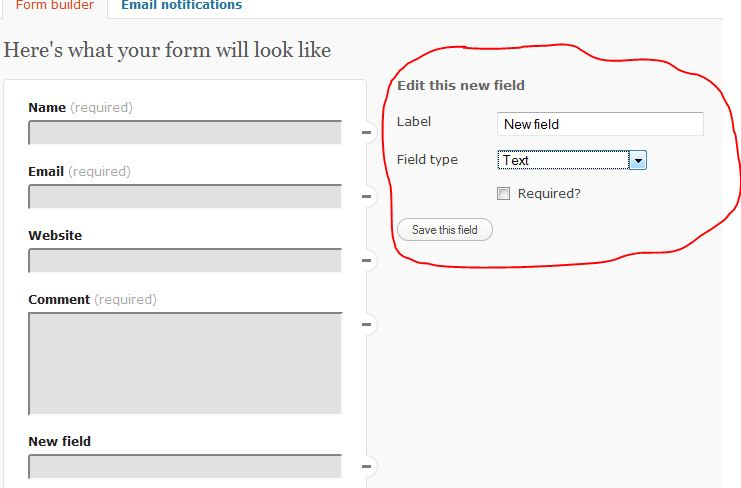 Wordpress contact form new field