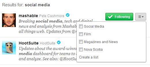 Twitter put check mark in the box for the list to add